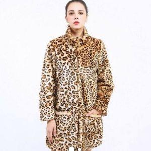 Hilmoor vintage leopard print faux fur coat parka